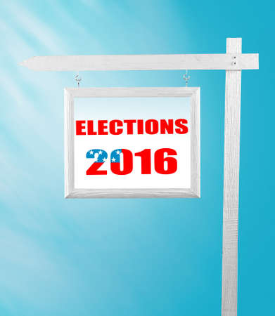 electioneering: Text Election Day on pointer on blue background
