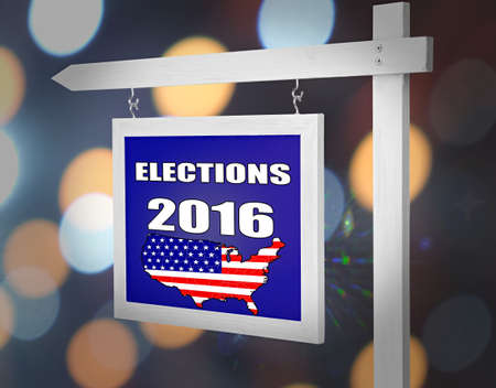 electioneering: Text Elections 2016 on pointer on bright festive background