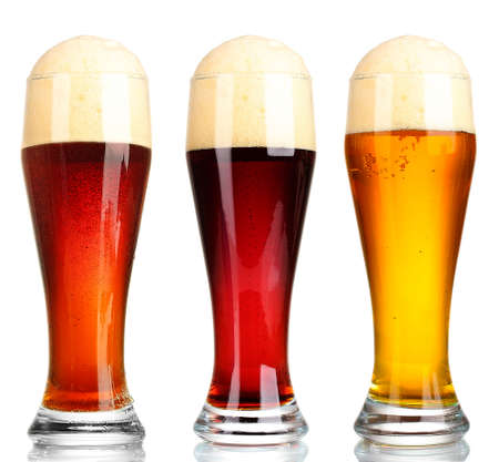 types of glasses: Different types of beer in glasses, isolated on white
