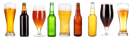 types of glasses: Different types of beer in glasses and bottles, isolated on white