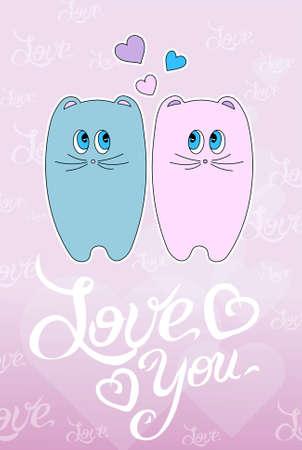 cat s: Cute cartoon animals couple fall in love, vector illustration. Stock Photo