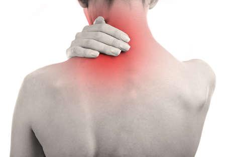 Jeune fille avec douleur au dos close up