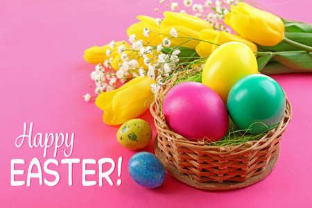 multicoloured: Easter greeting card. Multicoloured  eggs and tulips on pink background