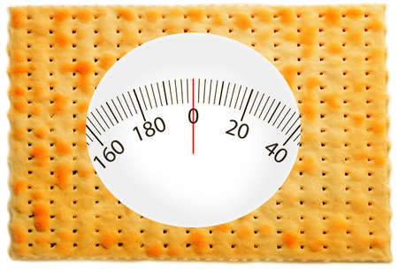 matzo: Matzo with weights range isolated on white. Health and diet concept