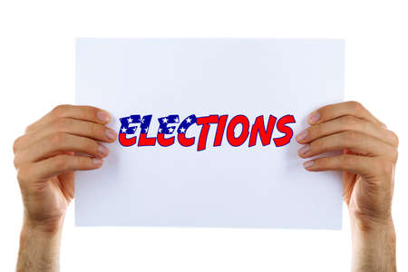 electioneering: Hands holding card with Elections text isolated on white