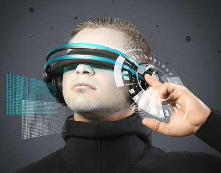 futuristic man: Man with futuristic glasses - future concept