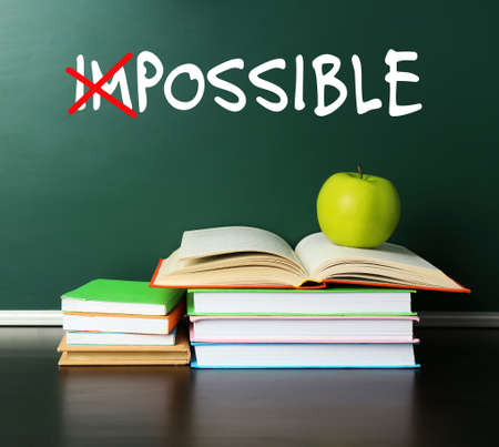 feasible: Word impossible transformed into possible on blackboard and textbooks