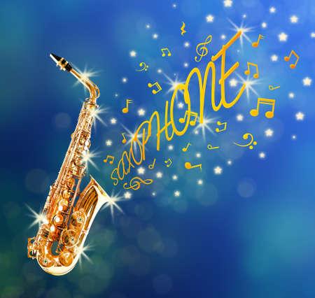 soprano saxophone: Saxofón y notas que salen contra el fondo azul Foto de archivo