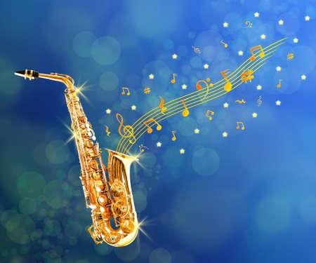 soprano saxophone: saxofón de oro con las notas que salen contra el fondo azul