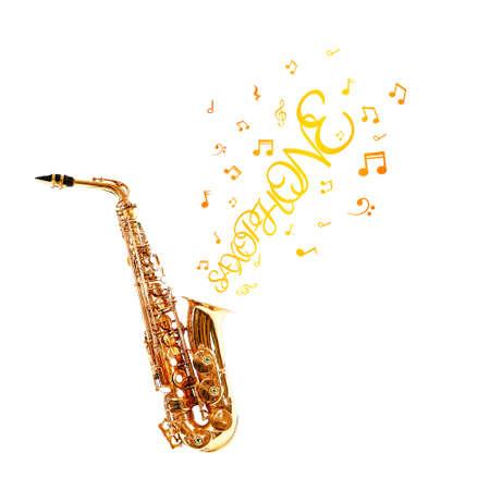 soprano saxophone: saxofón de oro y notas que salen aisladas en blanco