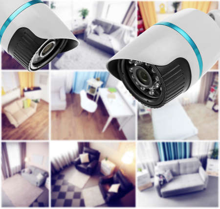 Security CCTV camera in home. Home security system concept Archivio Fotografico