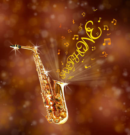 soprano saxophone: saxofón de oro y notas que salen contra el fondo marrón