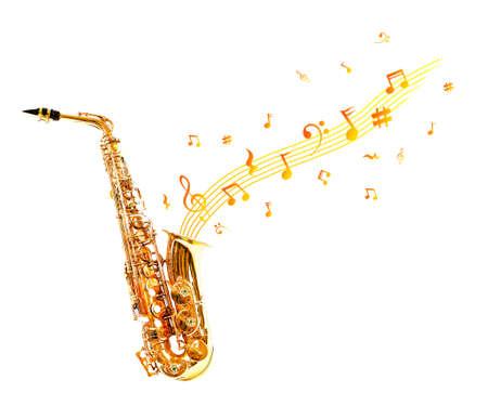 soprano saxophone: saxofón de oro y notas aisladas en blanco