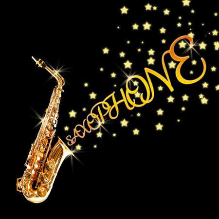 soprano saxophone: saxofón de oro con las estrellas que salen contra el fondo negro