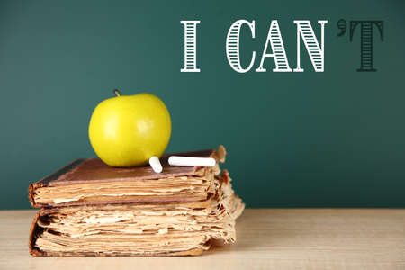 transformed: Words I cant transformed into I can on blackboard Stock Photo