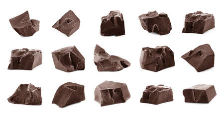 chocolate pieces: Chocolate pieces isolated on white Stock Photo