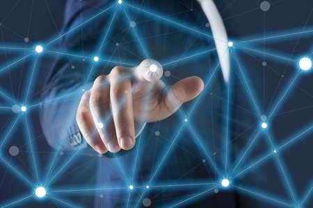 Finger touch Conexión inalámbrica, concepto de tecnología futurista