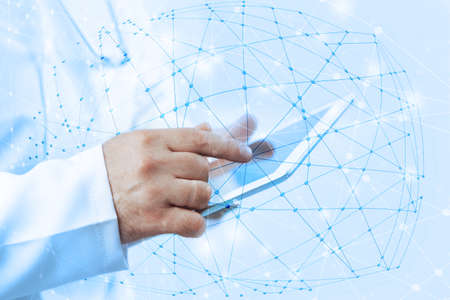 internet network: Wireless connection,  futuristic technology concept Stock Photo