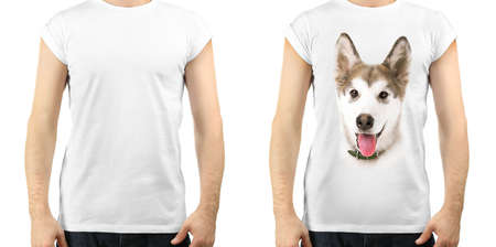 fashion art: man in blank white t-shirt and man in t-shirt with print of his dog Stock Photo
