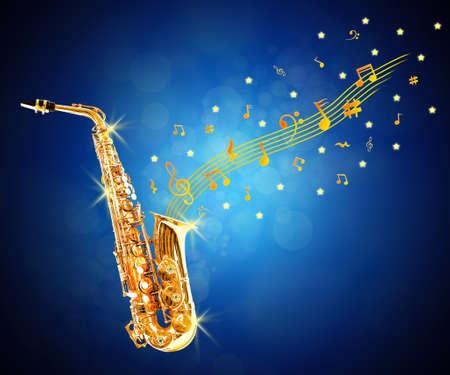 soprano saxophone: saxofón de oro y notas que fluye contra el fondo azul