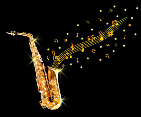 soprano saxophone: saxofón de oro y notas sobre fondo negro