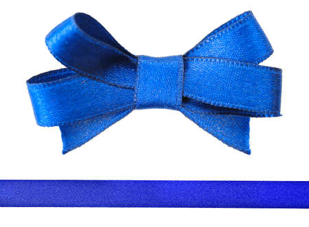 blue satin: Blue satin bow and ribbon isolated on white Stock Photo
