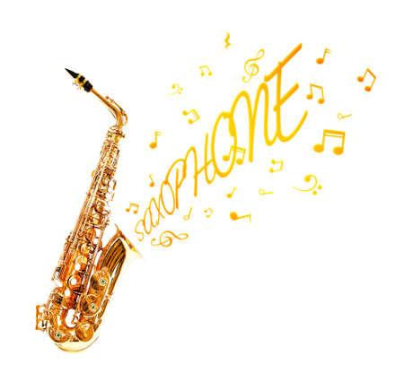 soprano saxophone: Saxofón y notas que salen aisladas en blanco Foto de archivo