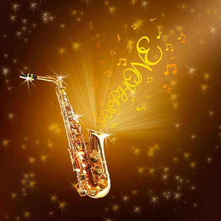 soprano saxophone: saxofón de oro y notas contra el fondo brillante