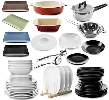 Collage, different, dishes isolated  white set collection
