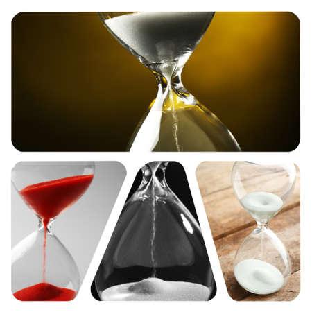 paciencia: Collage de diferentes relojes de arena Foto de archivo