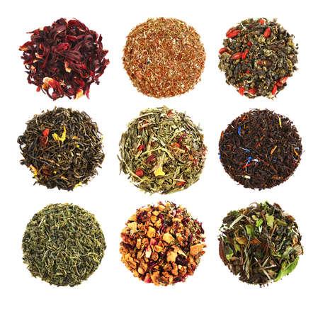 Set von verschiedenen Tee isoliert auf weiß