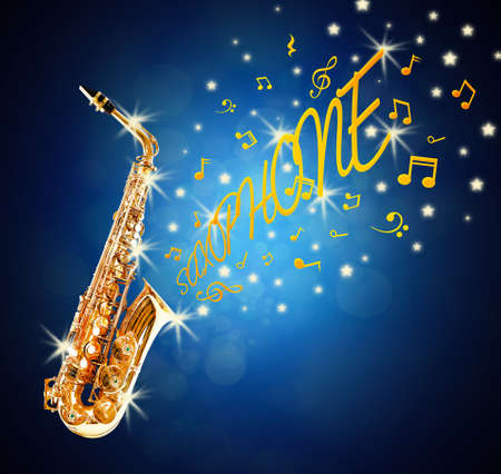 soprano saxophone: Golden saxophone and flowing notes against blue background Foto de archivo