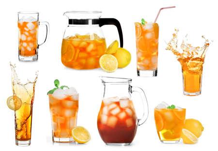 té helado: Collage de té de hielo aislado en blanco