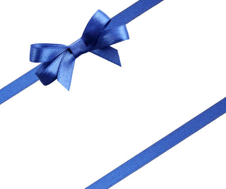 taping: Blue diagonal ribbons and bow, isolated on white
