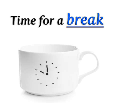 expires: Coffee cup with time for coffee break, isolated on white
