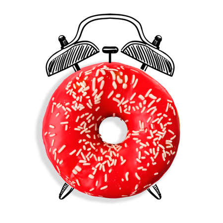 expires: Delicious donut with icing isolated on white. Time concept Stock Photo