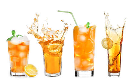 Collage of ice tea isolated on white Stock Photo