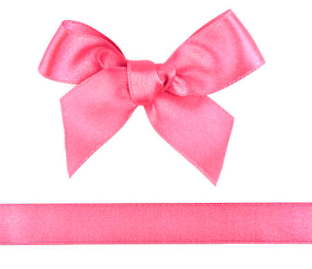 pink satin: Pink satin bow and ribbon isolated on white