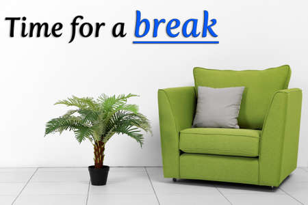 expires: Living room interior with green armchair and plant on white wall background
