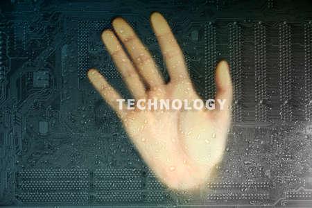 integrates: Future technology concept integrates electronics and bio-technologies
