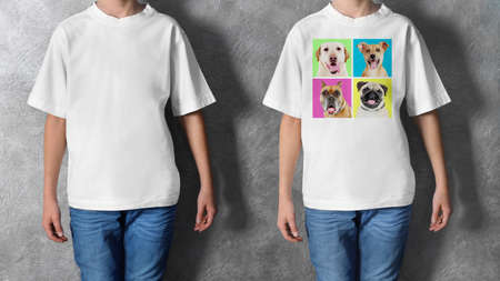 bogs: T-shirt design concept - boy in blank white t-shirt and boy in t-shirt with print of bogs Stock Photo