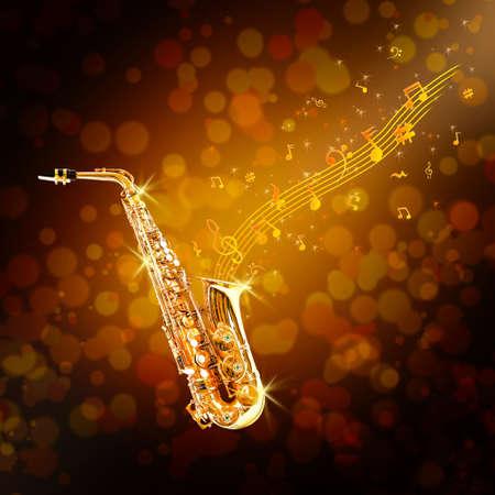 soprano saxophone: Saxofón de oro y notas fluidas sobre fondo marrón