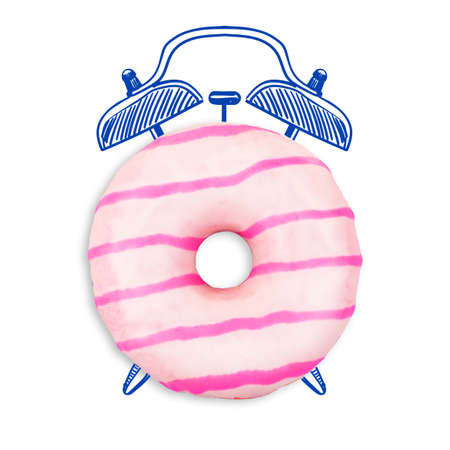 Delicious donut isolated on white. Time concept