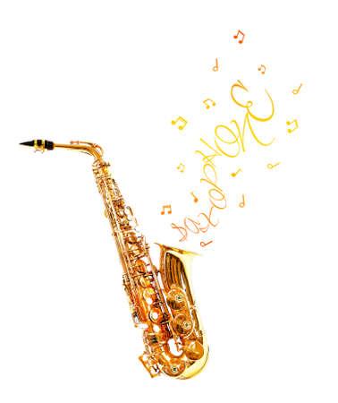 soprano saxophone: Saxofón de oro y notas que salen aislados en blanco