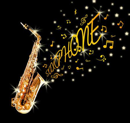 soprano saxophone: saxofón de oro y notas que salen contra el fondo negro Foto de archivo