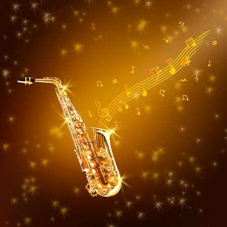 soprano saxophone: Golden saxophone and flowing notes against brown background Foto de archivo