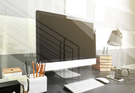 openspace: Open space office workplace view through glass with reflection