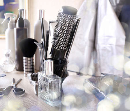 hairdresser: Professional hairdresser tools on table