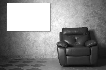 leather chair: Modern leather chair and picture frame in the living room.