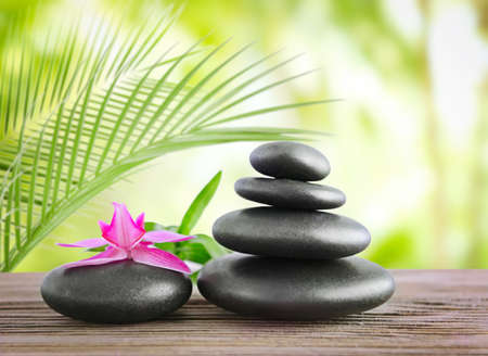 Black spa stones on natural background